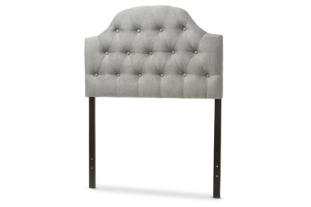 Button Tufted Upholstered Twin Headboard, Gray, large