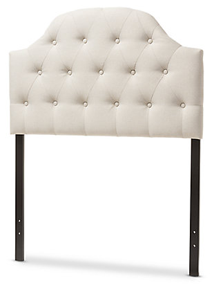 Scalloped Upholstered Button-Tufted Scalloped Twin Size Headboard, Light Beige, large