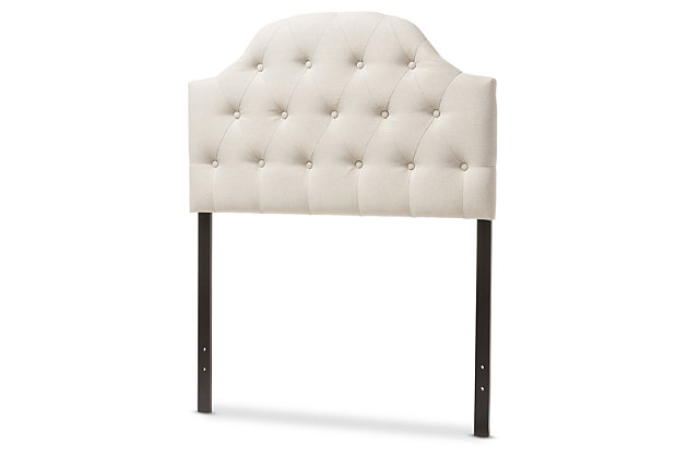 Button Tufted Upholstered Twin Headboard, Light Beige, large