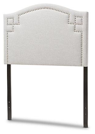 Nail Head Upholstered Twin Headboard, Gray/Beige, large