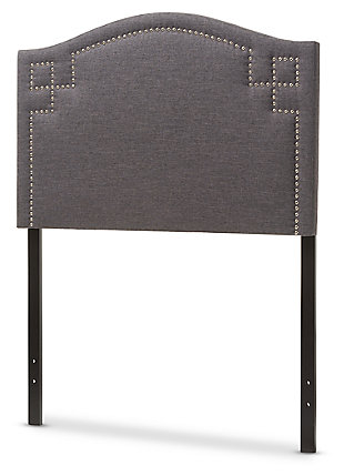Nail Head Upholstered Twin Headboard, Dark Gray, large