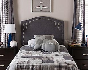 Nail Head Upholstered Twin Headboard, Dark Gray, rollover