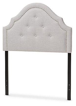 Cora Upholstered Twin Headboard, Gray/Beige, large