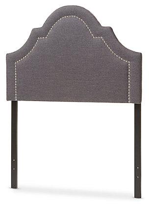 Rita Upholstered Twin Headboard, Dark Gray, large