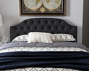 Button Tufted Upholstered Queen Headboard, Dark Gray, rollover