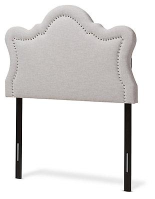 Cushioned Twin Headboard, Gray/Beige, large