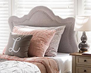 Cushioned Twin Headboard, Gray/Beige, rollover