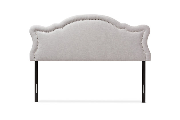 Cushioned Queen Headboard, Gray/Beige, large