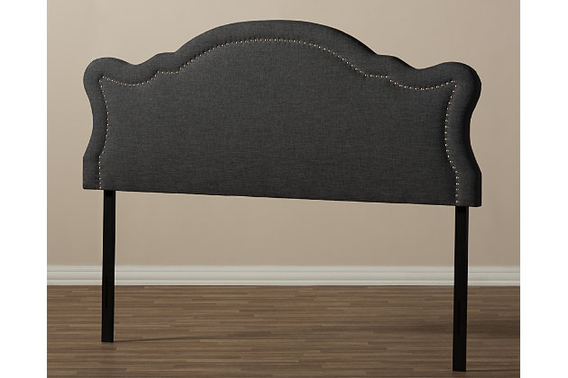 Cushioned Queen Headboard, Dark Gray, large
