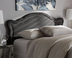 Cushioned Queen Headboard, Dark Gray, rollover