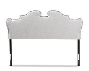 Studded Queen Headboard, Gray/Beige, large