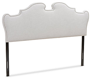 Studded Queen Headboard, Gray/Beige, large
