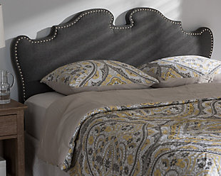 Studded Queen Headboard, Dark Gray, rollover