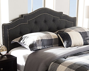 Edith Queen Headboard, Dark Gray, rollover