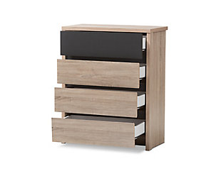 4 Drawer Two-Tone Wood Chest, , large