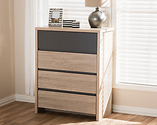4 Drawer Two-Tone Wood Chest, , rollover