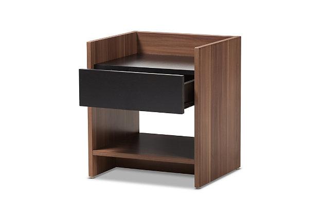 Vanda Two-Tone Wood 1-Drawer Nightstand, , large