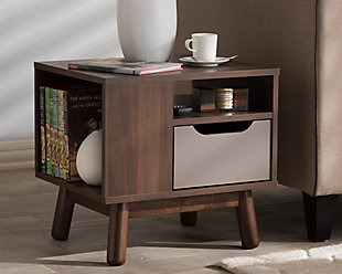 Britta Two-Tone Finished Wood Nightstand, , rollover