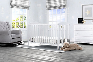 Delta Children Taylor 4-in-1 Convertible Baby Crib, White, rollover