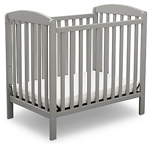 Delta Children Mini Baby Crib with Mattress, Gray, large