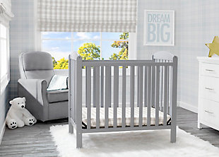 Delta Children Mini Baby Crib with Mattress, Gray, rollover