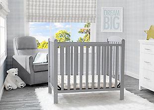 Delta Children Mini Baby Crib With Mattress, Gray, rollover