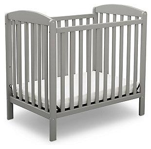 Delta Children Mini Baby Crib With Mattress, Gray, large