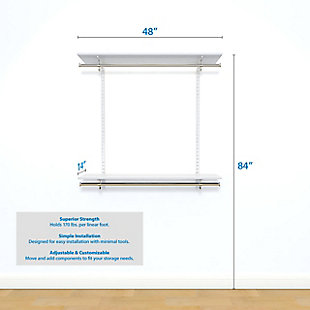 "Organized Living freedomRail® Basic Adjustable Closet Kit, 48""-52"", White, large"
