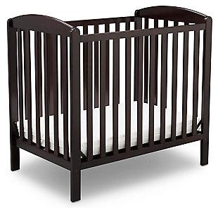 Delta Children Mini Baby Crib with Mattress, Dark Chocolate, large