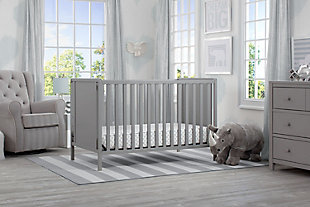 Delta Children Heartland Classic 4-in-1 Convertible Baby Crib, Gray, rollover