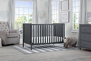 Delta Children Heartland Classic 4-in-1 Convertible Baby Crib, Charcoal/Gray, rollover