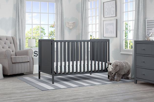 Delta Children Heartland Classic 4-in-1 Convertible Baby Crib, Charcoal/Gray, large