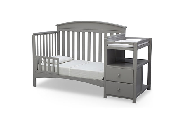 Delta Children Abby Convertible Baby Crib N Changer, Gray, large