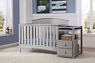Delta Children Abby Convertible Baby Crib N Changer, Gray, rollover