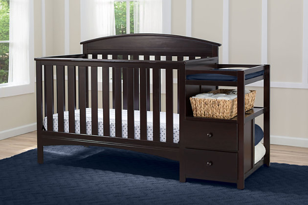 Delta Children Abby Convertible Baby Crib N Changer, Dark Chocolate, large