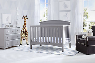 Delta Children Archer 4-in-1 Convertible Crib, Gray, rollover