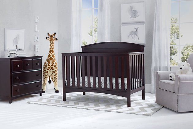 Delta Children Archer 4-in-1 Convertible Crib, Dark Chocolate, large