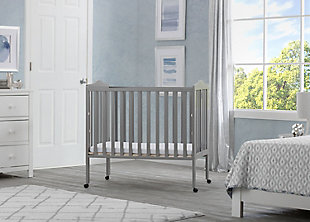 Delta Children Folding Portable Mini Crib with Mattress, Gray, rollover