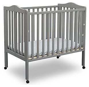 Delta Children Folding Portable Mini Crib with Mattress, Gray, large