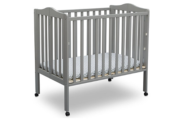 Delta Children Folding Portable Mini Crib With Mattress, Gray, large