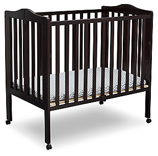Delta Children Folding Portable Mini Crib with Mattress, Dark Chocolate, large