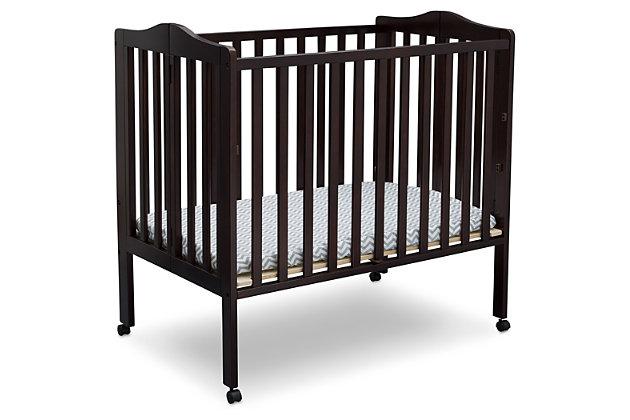 Delta Children Folding Portable Mini Crib with Mattress, Dark Chocolate, large
