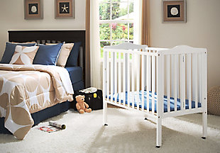 Delta Children Folding Portable Mini Crib with Mattress, White, rollover