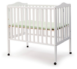 Delta Children Folding Portable Mini Crib with Mattress, White, large