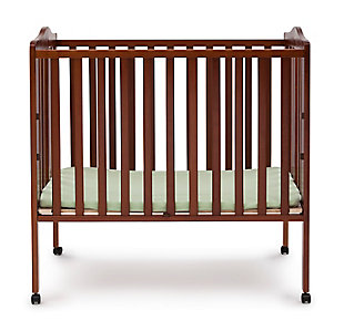 Delta Children Folding Portable Mini Crib with Mattress, Cherry, large