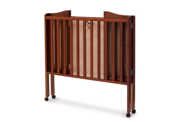 Delta Children Folding Portable Mini Crib with Mattress, Cherry, large