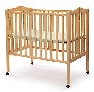 Delta Children Folding Portable Mini Crib with Mattress, Natural, large