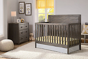 Delta Children Cambridge 4-in-1 Convertible Crib, Rustic Gray, rollover
