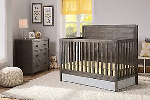 Delta Children Cambridge 4-in-1 Convertible Crib, Rustic Gray, rollover