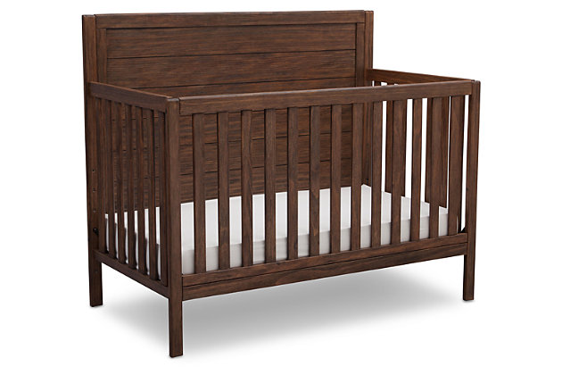 Delta Children Cambridge 4-in-1 Convertible Crib, Rustic Oak, large